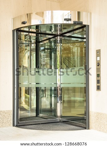 revolving doors at an office building