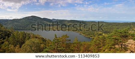 Revvatnet panorama of the lake. The trail to Preikestolen. Norway