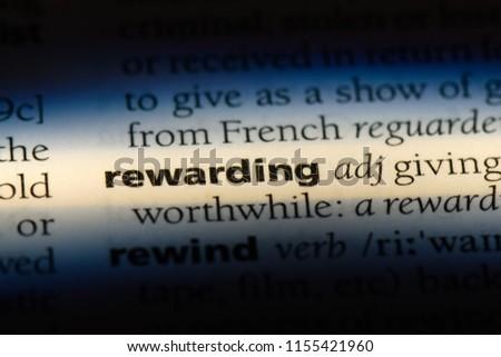 rewarding word in a dictionary. rewarding concept. #1155421960