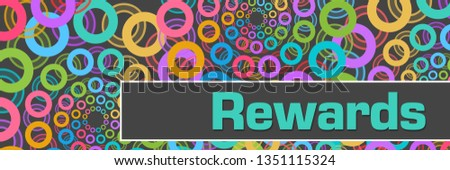 Rewards text written over dark colorful background. Photo stock ©
