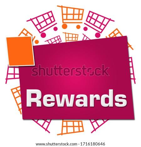 Rewards text written over pink orange background. Photo stock ©