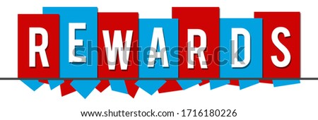 Rewards text written over red blue background. Photo stock ©