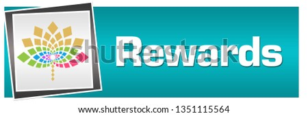 Rewards text written over turquoise colorful background. Photo stock ©