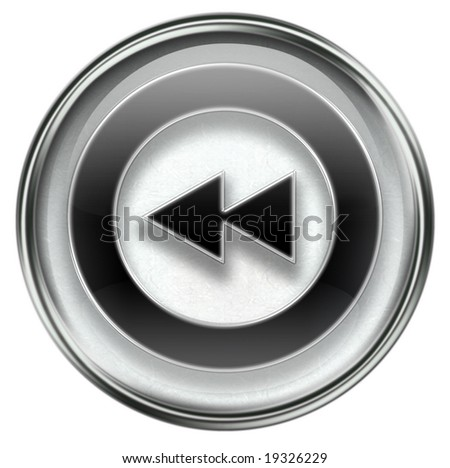 Rewind Back icon grey, isolated on white background.