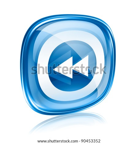 Rewind icon blue glass, isolated on white background.