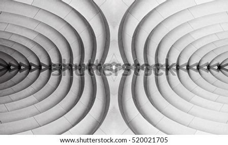 Reworked abstract architecture photograph resembling decorative wall / ceiling panel or stair-step structure in hi-tech or bio-design. Original curvilinear pattern.