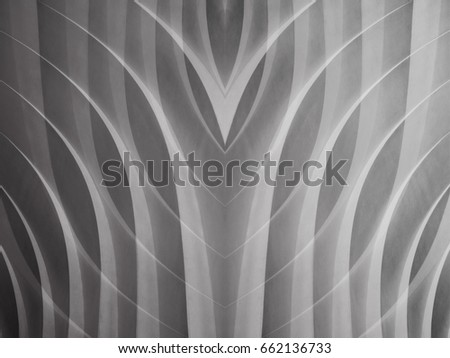 Reworked close-up photo of wall surface resembling modern or futuristic architectural detail. White texture. Abstract black and white background on the subject of architecture, business or technology.