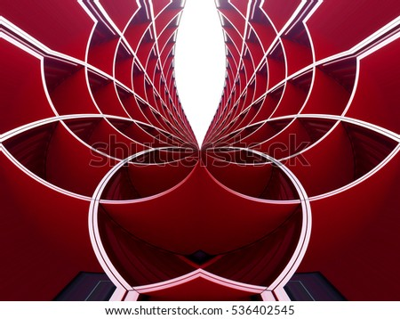 Reworked photo of cellular structure. Curvilinear grid background. Flower / nature motif in modern architecture. Decoration of building exterior or interior.