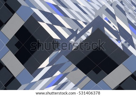 Reworked photo of ceramic tiles resembling bay windows of multistory building viewed from below. Abstract architectural background image in hi-tech / minimalism style with checkered pattern.
