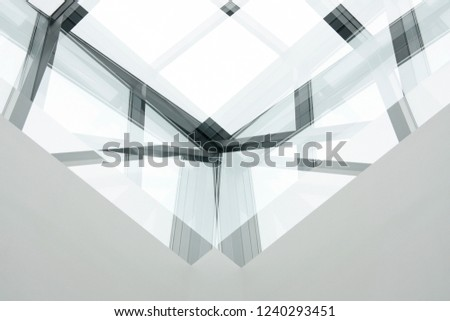 Reworked photo of modern architecture fragments. Structural glazing in office building. Transparent walls and roof with metal framework. Architectural glass background with crystal effect.