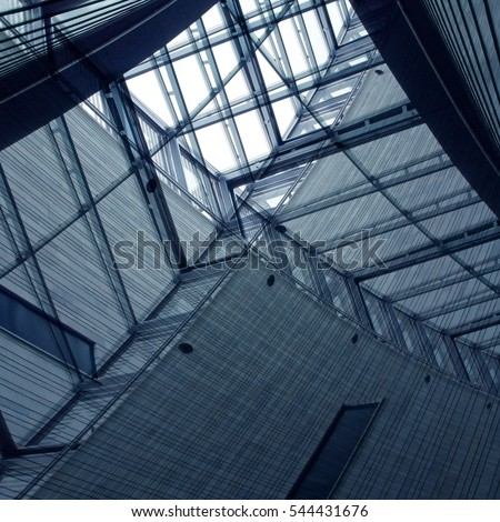 Reworked photo of modular glass ceiling in a contemporary public / office building. Toned abstract image on the subject of modern architecture. #544431676