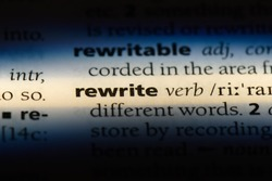 rewrite word in a dictionary. rewrite concept.
