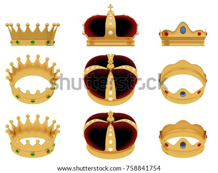 Reyes magos. Royal crown of three wise men. 3d render, 3d illustration