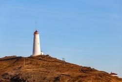 Reykjanesviti or Reykjanes Lighthouse, Reykjanes peninsula, Iceland. It is the oldest lighthouse in Iceland.