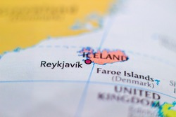 Reykjavík, the capital and largest city of Iceland on a geographical map