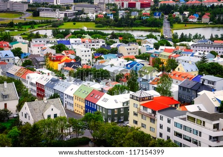 Reykjavik city aerial view of colorful houses, Iceland