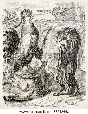 Reynecke Fuchs old illustration, taken from Goethe poem. Created by Kaulbach, published on L'Illustration, Journal Universel, Paris, 1860
