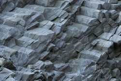 Reynisfjara Beach Volcanic Basalt Coloumn Formations, in southern Iceland