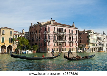Rezzonico Palace entrance viewed from the Canale Grande Venice, Italy