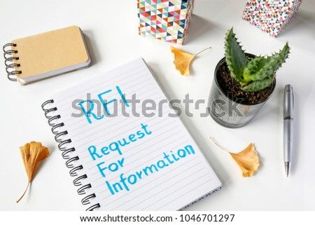 RFI Request For Information written in notebook on white table #1046701297