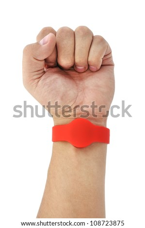 RFID  Bracelet on his arm on a white background