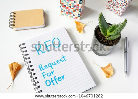 RFO Request For Offer written in notebook on white table #1046701282