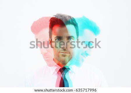 RGB Glitch effect of businessman with emotion, mad, calm and happy. Emotional controlling, mental health concept. #635717996
