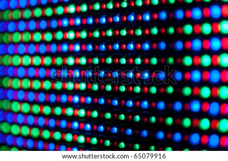 RGB led diode display panel with red and blue diodes turned on. Selective focus. Shallow depth of field.