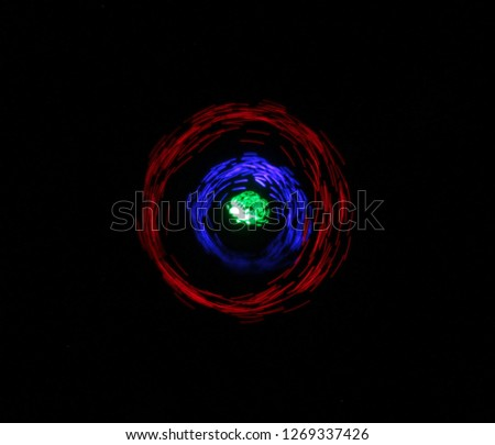 RGB led light painting round trails abstract background on black Stok fotoğraf ©