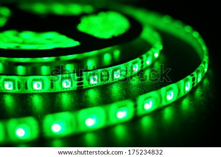 rgb LED strip for decoration of interiors and buildings, light green at the moment