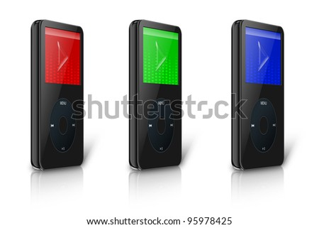 RGB Modern MP3 - MP4 multimedia player, isolated on white background