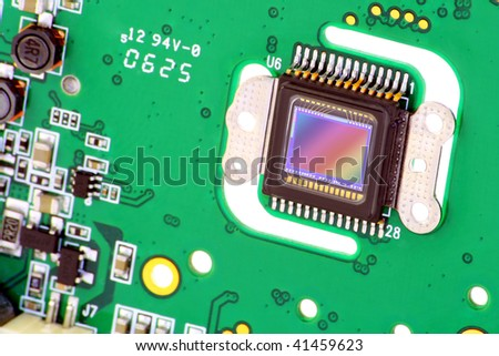 RGB  sensor control of the image of the modern compact digital camera, established on the printed-circuit board.