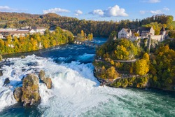 Rheinfall - the biggest waterfall in Europe. Aerial view over autumn landscape.