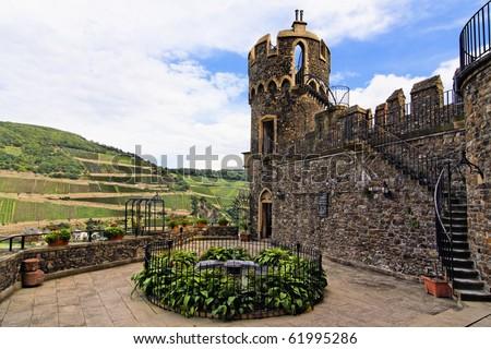 Rheinstein Castle on the Rhine valley in Germany