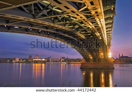 Rhine-bridge Wiesbaden-Mainz Germany - stock photo