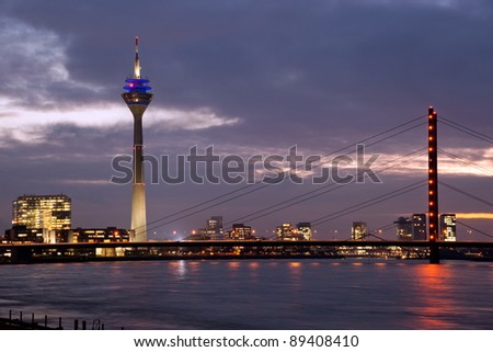 Rhine bridge with Tower in Media Harbor, Düsseldorf