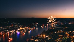 Rhine in Flames (Bonn 2018) - Fireworks next to the Rhine - View from
