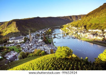 Rhine valley at Cochem town, Germany - stock photo