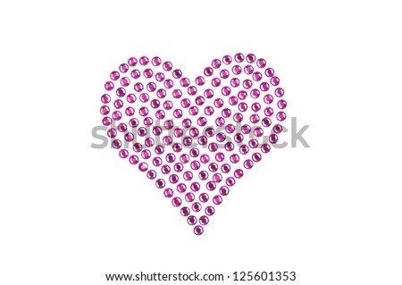 Rhinestones in form of a heart, in pink color
