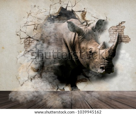 Rhino comes out of the bedroom wall. 3D Wallpaper for walls. 3D Rendering.