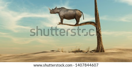 rhino stands on thin branch of withered tree in surreal landscape. This is a 3d render illustration