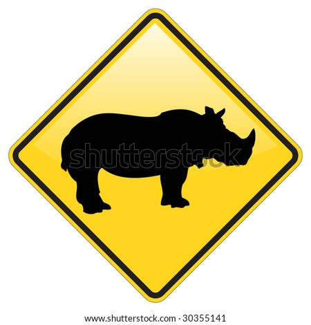 Rhino Warning Sign With Glossy Effect