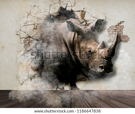 Rhinoceros coming out of the walls. Wallpapers for walls. 3D rendering.