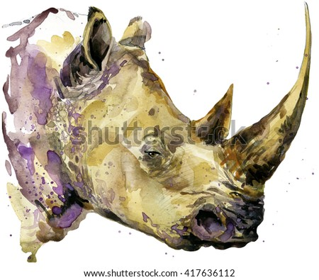 Rhinoceros watercolor. African animal hand drawn illustration.