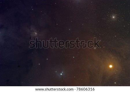Rho Ophiuchi Nebula, Antares and the M4 Cluster