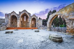 Rhodes, Greece. Church of the Virgin of the Burgh medieval ruins.