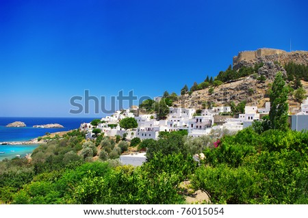 Rhodes island - view of  Lindos bay