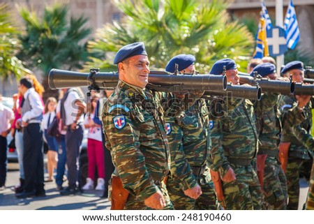 RHODES TOWN GREECE - 28 OCT 2014: Greek soliders parade during the 28th October national holiday remembering the refusal of Greece in 1940 to accept the italian ultimatum advanced by Benito Mussolini.
