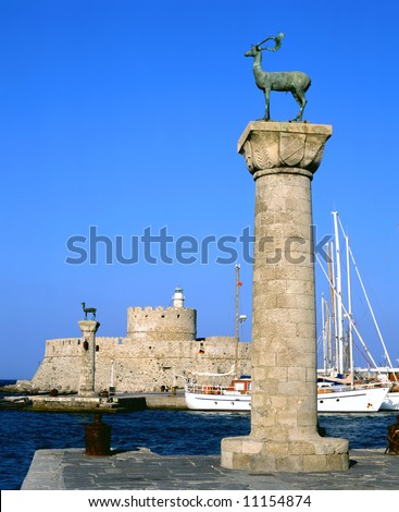 Rhodian deer atop the columns that protect Mandraki harbour entrance, on the Greek island of Rhodes