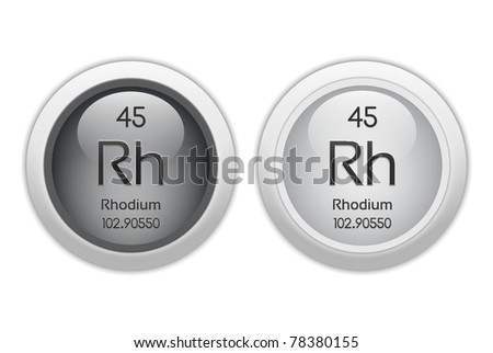 Rhodium - Two Web Buttons - Chemical Element With Atomic ... Rhodium Element Project
